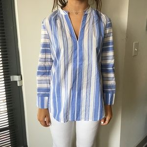 J.Crew Blue and White Striped Tunic Size Small